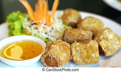Crab Roll Cake with plum sauce - Chinese restaurant food...