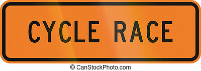 New Zealand road sign - Cycle race ahead.