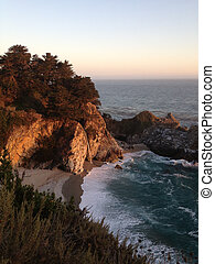 McWay Falls at Sunset - McWay Falls in Big Sur California at...
