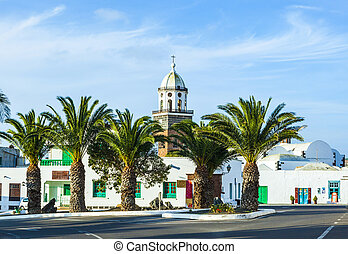 Belltower of the Iglesia San Miguel in Teguise, the former...
