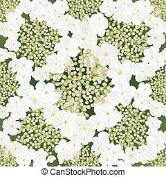 Flowers viburnum seamles background with leafs in realistic...