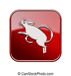 Rat Zodiac icon red, isolated on white background.