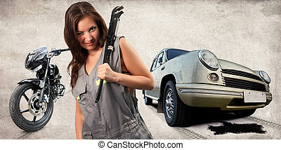 Pretty mechanic with the adjustable wrench Broken car and...
