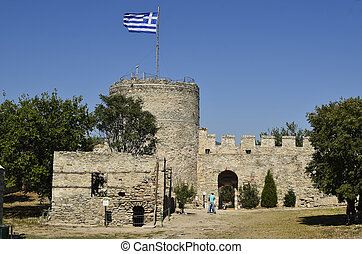 Greece, Kavala - Greece, fortress of Kavala with Greek flag