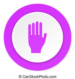 stop violet pink circle 3d modern flat design icon on white...