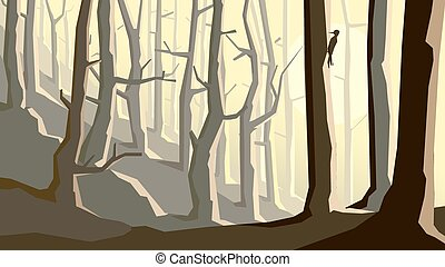Cartoon forest on hill.