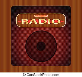 Old Transistor Radio - An old wooden transistor radio with...