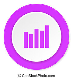 graph violet pink circle 3d modern flat design icon on white background