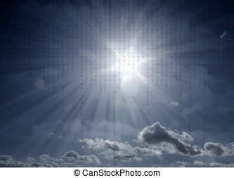 New age communications - Blue toned sunflare in cloudy sky...