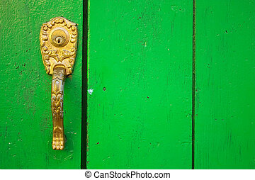 Spanish colonial style door. Cartagena de Indias, Colombia.