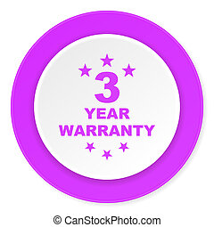 warranty guarantee 3 year violet pink circle 3d modern flat...