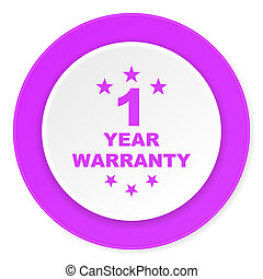 warranty guarantee 1 year violet pink circle 3d modern flat...