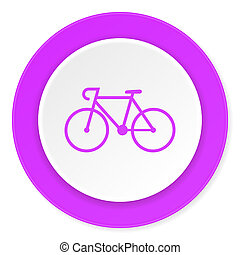 bicycle violet pink circle 3d modern flat design icon on...