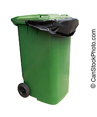 Green garbage bin isolated on white background with clipping...
