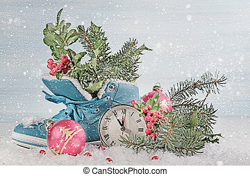 New Year clock with blue shoe and fir branches Digital...