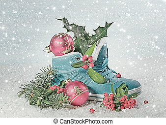 Blue shoe with Holly leaves and berries Digital illustration...