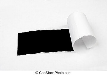 Black hole in white sheet of paper