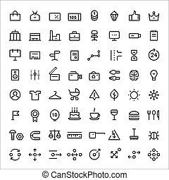 Linear icons set for web services vol2 Thin lines Black - 64...