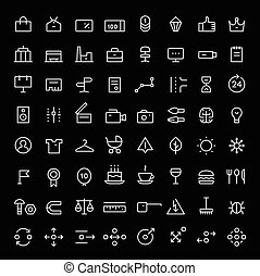 Linear icons set for web services vol.2. Thin lines. White....
