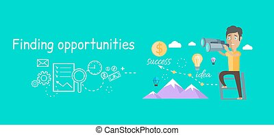 Man Finding Opportunities Concept