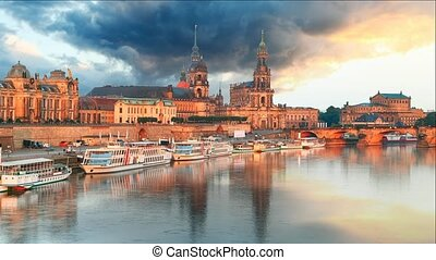 Dresden, Germany old town skyline on the Elbe River