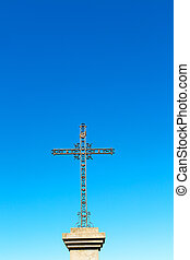 catholic abstract cross in italy sky background - abstract...