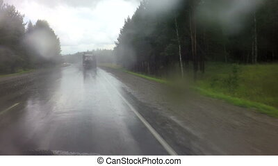 Travel by car in heavy rain on Altai Krai - Travel by car in...