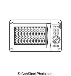 outline black microwave oven illustration - vector...