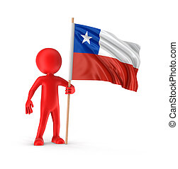 Man and Chilean flag Image with clipping path