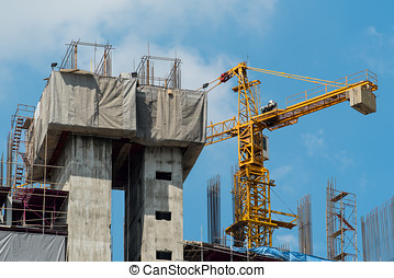 construction site with crane - construction site with big...