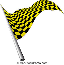 checked flags - Yellow and black checked racing flag. Vector...