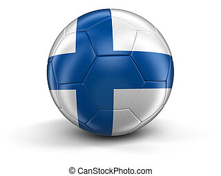 Soccer football with Finnish flag Image with clipping path