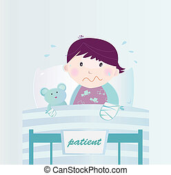 Ill child with broken hand in the hospital - Cute small...