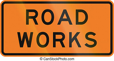 New Zealand road sign - Road works.