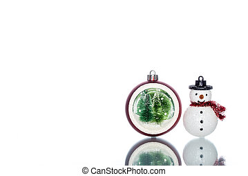 snowglobe with christmas tree inside with snowman, copy...