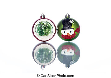Snowman Baubles with snowglobe with christmas tree inside -...