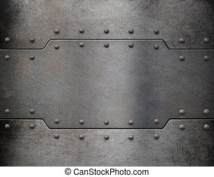 metal armour plate background - old metal armour plate...