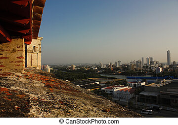 Overview of Cartagena de Indias, from the castle. Colombia -...