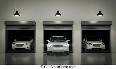 Garage with Opened Roller Door. 3D