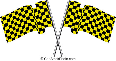 checked flags - Yellow and black checked racing flag Vector...