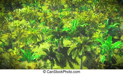 Lush vegetation in jungle