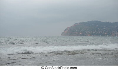 sea and sky at alanya, turkey - Blue sea with waves and sky...