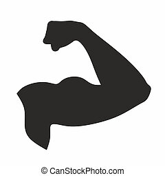 fitness - silhouette of strong arm with flexed biceps