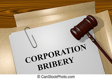 Corporation Bribery concept - Render illustration of...