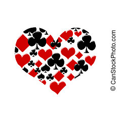 Love to play cards - Four card suits making a heart on a...
