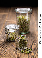 Mix of sprouted seeds in glass jars on a wooden background