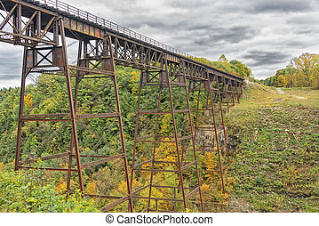 Letchworth Railorad Trestle in Autumn - Old Railroad Trestle...