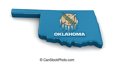 Map of Oklahoma state with flag. Image with clipping path.