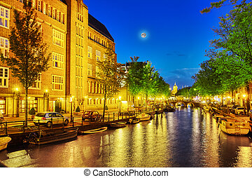 Beautiful Amsterdam city at the evening time Netherlands