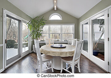 Eating area with doors to patio - Eating area in suburban...